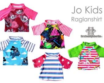 JO Kids Kinder T-Shirt mit Raglanärmel Unisex Sommer Oberteil Kindershirt Schnittmuster nähen PDf eBook firstloungeberlin Jungs Mädchen Top