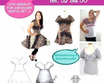 Klara eBook PDF-Datei für Shirt & Kleid Nähanleitung mit Schnittmuster Damenkleid Sommerkleid Top Tellerrockkleid nähen firstloungeberlin