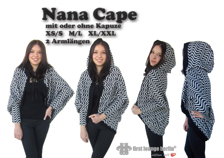 Nana eBook Cape Poncho Umhang in 3 Größen XS/S bis XL/XXL