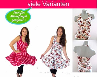 LuLu Top & Kleid Sommerkleid Neckholder Shirt Tellerrockkleid PDF Nähanleitung mit Schnittmuster - handmade with LOVE by firstloungeberlin