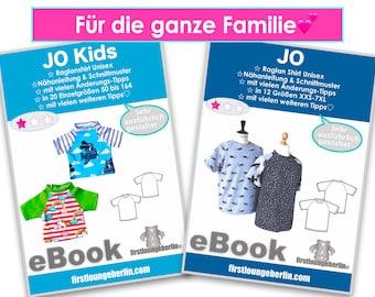 JO Family Raglan T-Shirt mit Raglanärmeln Kinder Erwachsene Unisex Sommer-Shirt Sommertop Schnittmuster nähen eBook PDF firstloungeberlin