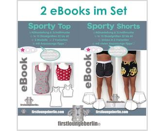 Sporty Top & Shorts im Set Gr. 32 - 60 Lieblingsshirt Hose Sort Yoga Wellness Sommertop nähen Schnittmuster PDF eBook firstloungeberlin
