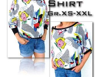 Judy *** eBook PDF-Datei Big Shirt Nähanleitung & Schnittmuster in 6 Größen xs-xxl, 2 Armlängen- with LOVE by firstloungeberlin Damen Frauen