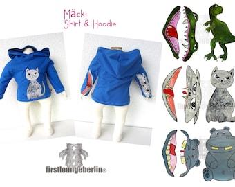 Mäcki Hoodie T-Shirt Sweater Kinderhoodie Baby Kinderhirt Pulli Kindershirt Schnittmuster nähen eBook