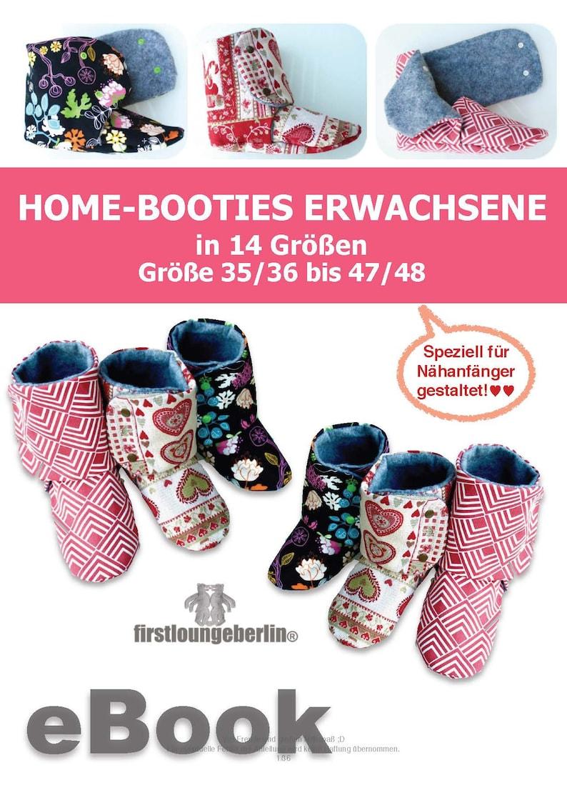 Hausschuhe TEENAGER und ERWACHSENE Home-Booties in 14 Gr\u00f6\u00dfen 3536 bis 4748 E-Book PDF N\u00e4hanleitung /& Schnittmuster