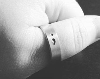 "Semicolon - Suicide Prevention - Mental Health Awareness - 1/4"" Aluminum Adjustable Ring - Hand Stamped"