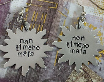 Non Timebo Mala - I Will Fear No Evil - Anti-possession Symbol - Supernatural Inspired Aluminum Earrings - Hand Stamped