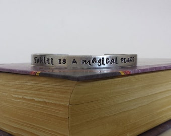 Tahiti is a Magical Place - Agents of S.H.I.E.L.D. Inspired Aluminum Bracelet Cuff - Hand Stamped