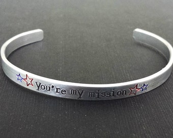You're my mission - Captain America Inspired Aluminum Bracelet Cuff  - Bucky Barnes - Winter Soldier - Hand Stamped