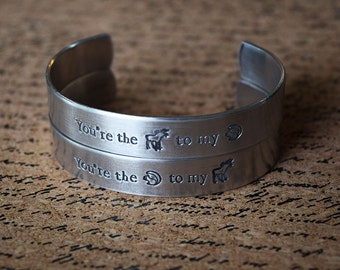 You're the Moose to my Squirrel - You're the Squirrel to my Moose - Supernatural Inspired Aluminum Bracelet Cuff Set of 2 - Hand Stamped
