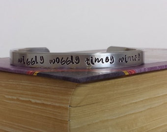 Wibbly Wobbly Timey Wimey - Doctor Who Inspired Aluminum Bracelet Cuff - Hand Stamped