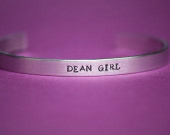 DEAN GIRL - Supernatural Inspired Aluminum Bracelet Cuff - Dean Winchester - Hand Stamped