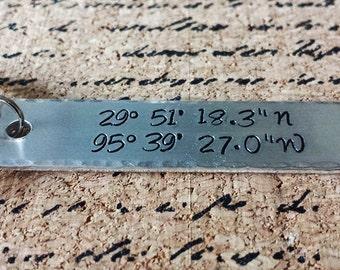 Latitude Longitude Keychain - Coordinates Long Distance Relationship Birthday Anniversary Hand Stamped