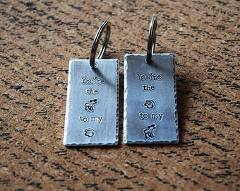 You're the Moose to my Squirrel - You're the Squirrel to my Moose - Sam & Dean - Supernatural Inspired Aluminum Keychain Set - Hand Stamped
