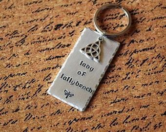 Lady of Lallybroch - Celtic Aluminum Key Chain Fob or Necklace with Charm - Hand Stamped