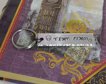 TIME LORD - Doctor Who Inspired Aluminum Key Chain Fob - Hand Stamped