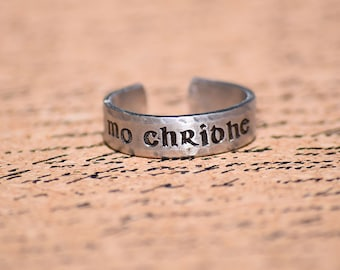 "Mo Chridhe - My Heart - Scottish Gaelic 1/4"" Aluminum Adjustable Ring - Hand Stamped"