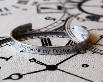 Pick your Doctor - Doctor Who Inspired Aluminum Bracelet Cuff - Hand Stamped
