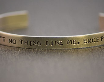 Ain't No Thing Like Me, Except Me  - Guardians of the Galaxy Inspired Aluminum Bracelet Cuff - Marvel Comics- Hand Stamped