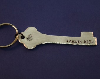 TARDIS Keys - Doctor Who Inspired Aluminum Key Chain Fob - Hand Stamped