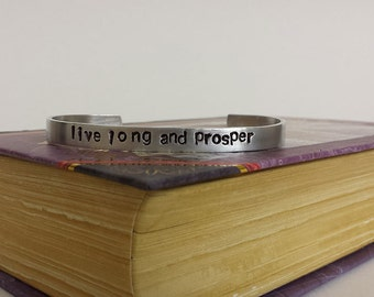 Live Long and Prosper - Star Trek Inspired Aluminum Bracelet Cuff - Hand Stamped