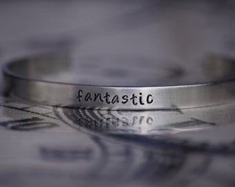Fantastic - 9th Doctor - Doctor Who Inspired Aluminum Bracelet Cuff - Hand Stamped