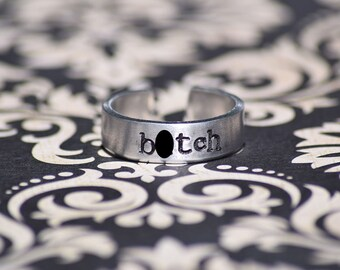 "B*tch - Supernatural Inspired 1/4"" Aluminum Adjustable Ring - Hand Stamped"