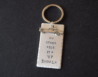 My Other Ride is a '67 Impala - Supernatural Inspired Aluminum Key Chain Fob or Necklace - Hand Stamped