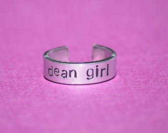 "Dean Girl - Supernatural Inspired 1/4"" Aluminum Adjustable Ring - Hand Stamped"