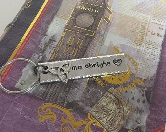 Mo Chridhe - My Heart - Scottish Gaelic Aluminum Key Chain Fob with Charm - Hand Stamped