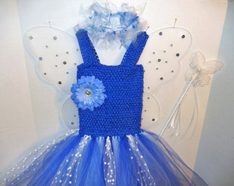 Royal Blue/White Fairy-Princess Costume with STRAPS, size 3 to 6!  Royal Blue dress with Wings, Halo & Magic Wand! Affordable and FUN!