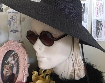 10f3e84f 1940s 50s Sun Hat Peaked Crown Wide Brim