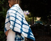 Hand Dyed Indigo Silk Shibori Scarf