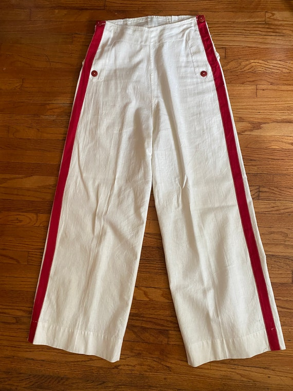 1930s White Cotton Sailor Pants Red Stripe