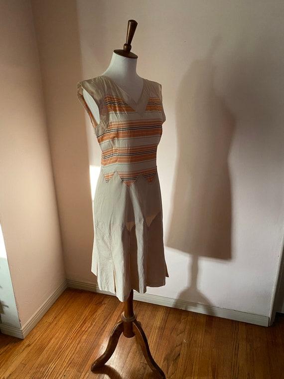 1930s Art Deco Rare Silk Cotton Sports Dress Small