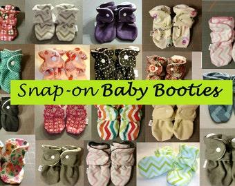 Baby Booties with Snaps,  Custom Fabrics. Will not fall off! Handmade. Cotton or Fleece.