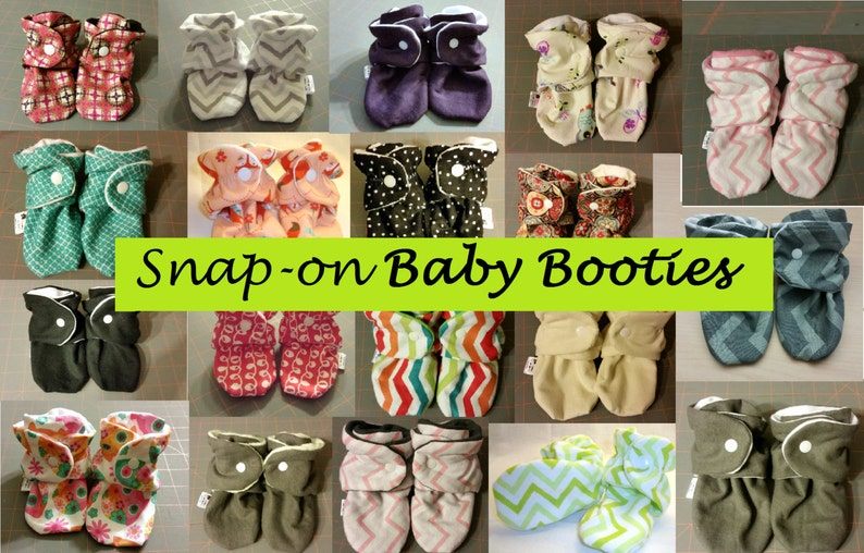 Baby Booties with Snaps  Custom Fabrics. Will not fall off image 0