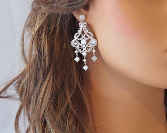 Bridal Earrings, Chandelier Wedding Earrings, CZ Bridal Earrings, Vintage Wedding, Drop Earrings, CZ Studs, Wedding, Bridal Jewelry - 17S65E