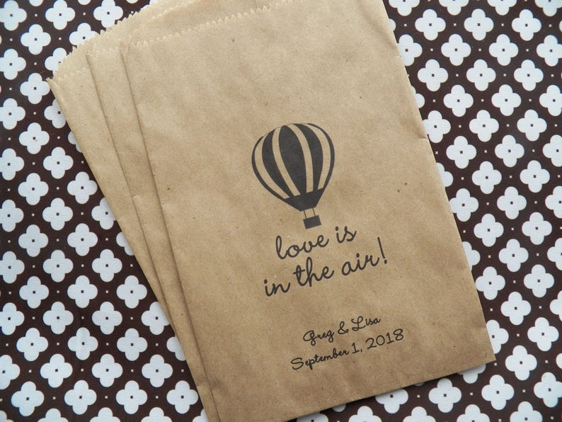 Love is in the Air Favor Bags Personalized Wedding Treat Bags Hot Air Balloon Favor Bags 50 Wedding Favor Bags Bridal Shower Favor Bag