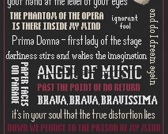 Phantom of the Opera Songs - Broadway - PDF Cross Stitch Patterns