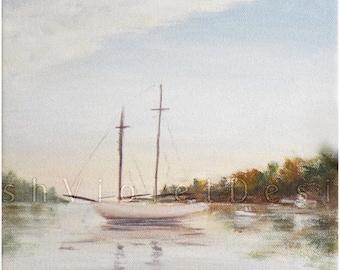 Sailboat Print, Sailboat Art, Sailing Art, Nautical Print, Nautical Decor, Ship Print, Yacht , blue, white, brown, 8x10 11x14 inch print