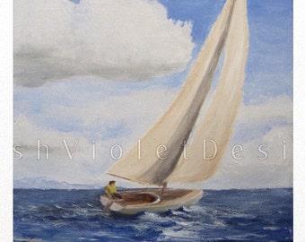 Sailboat Print, Sailboat Art, Sailing Art, Nautical Print, Nautical Decor, Ship Print, 8x10 11x14 16x20 inch, large print, small print