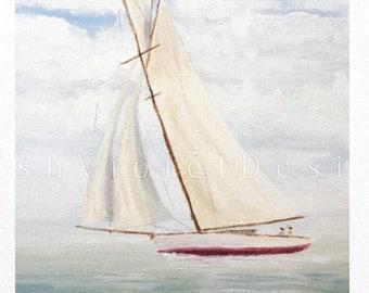 Sailboat Print, Sailboat Art, Sailing Art, Nautical Print, Nautical Decor, Ship Print, Yacht , blue, green white red, 8x10 11x14 inch print