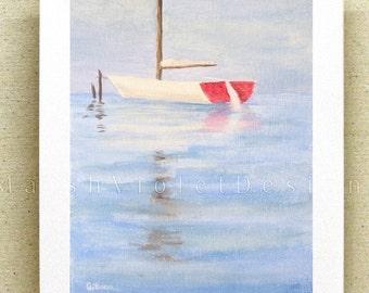 Sailboat Print, Sailboat Art, Sailing Art, Nautical Print, Nautical Decor, Ship Print, 8x10 or 11x14 inch, large nautical print