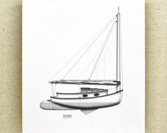 Nautical Decor, Sailing Decor, Nautical Print, Sailing Print, Sailboat Art, Minimalist Art, Large Print 8x10, 11x14, 12x16, 16x20 inch print