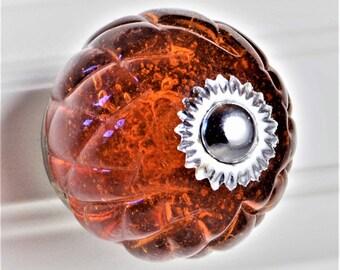 Set of 2 Glass Crisscross Cut Knobs - Honey