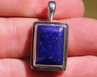 Small Rectangle Royal Blue Lapis Lazuli  and Iron Pyrite Flecks Pendant, Bezel Set In Solid Sterling Silver, High Quality Gemstones LZP-6