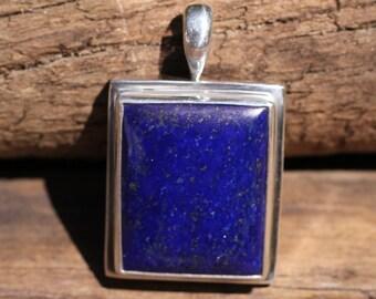 Royal Blue Lapis Lazuli  and Iron Pyrite Flecks Pendant, Bezel Set In Solid Sterling Silver, High Quality Gemstones LZP-3