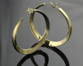 Brass Hoop Earrings, Sterling Silver Post & Backer, Lightweight Hollow Construction, Contemporary Design