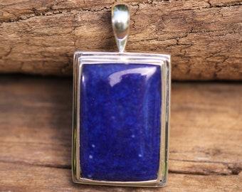 Royal Blue Lapis Lazuli  Pendant, Bezel Set In Solid Sterling Silver, High Quality Gemstones LZP-4